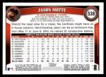 2011 Topps #538  Jason Motte  Back Thumbnail