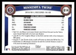 2011 Topps #614   Twins Team Back Thumbnail