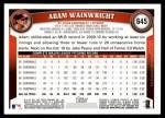 2011 Topps #645  Adam Wainwright  Back Thumbnail