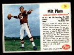 1962 Post #70  Milt Plum  Front Thumbnail