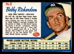 1962 Post Cereal #2  Bobby Richardson  Front Thumbnail