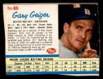 1962 Post Cereal #60  Gary Geiger   Front Thumbnail
