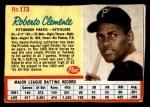 1962 Post #173 BLU Roberto Clemente   Front Thumbnail