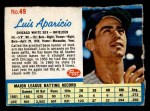 1962 Post Cereal #49  Luis Aparicio   Front Thumbnail