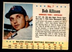 1963 Post Cereal #7  Bob Allison  Front Thumbnail