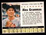 1961 Post Cereal #177 BOX Alex Grammas   Front Thumbnail