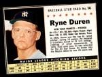 1961 Post Cereal #14 BOX Ryne Duren   Front Thumbnail