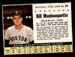 1961 Post #54 BOX Bill Monbouquette   Front Thumbnail