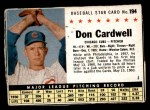 1961 Post Cereal #194 BOX Don Cardwell   Front Thumbnail