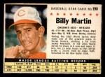 1961 Post Cereal #190 BOX Billy Martin   Front Thumbnail