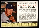 1961 Post Cereal #40 BOX Norm Cash   Front Thumbnail