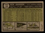 1961 Topps #24  Ken Johnson  Back Thumbnail