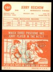1963 Topps #101  Jerry Reichow  Back Thumbnail