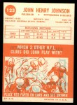 1963 Topps #123  John Henry Johnson  Back Thumbnail