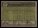 1961 Topps #267  Norm Siebern  Back Thumbnail