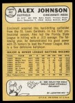 1968 Topps #441  Alex Johnson  Back Thumbnail