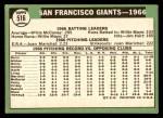 1967 Topps #516   Giants Team Back Thumbnail