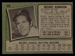 1971 Topps #300  Brooks Robinson  Back Thumbnail