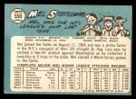 1965 Topps #550  Mel Stottlemyre  Back Thumbnail