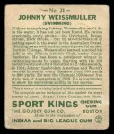 1933 Goudey Sport Kings #21  Johnny Weissmuller   Back Thumbnail