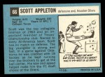1964 Topps #66  Scott Appleton  Back Thumbnail