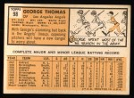 1963 Topps #98  George Thomas  Back Thumbnail