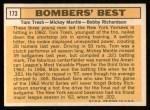 1963 Topps #173   -  Tom Tresh / Mickey Mantle / Bobby Richardson Bomber's Best Back Thumbnail
