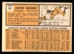 1963 Topps #65  Jackie Brandt  Back Thumbnail