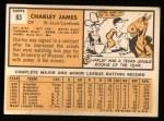 1963 Topps #83  Charlie James  Back Thumbnail