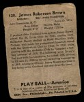 1939 Play Ball #132  Jim Brown  Back Thumbnail