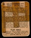 1940 Play Ball #88  Mel Ott  Back Thumbnail