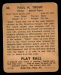 1940 Play Ball #44  Dizzy Trout  Back Thumbnail
