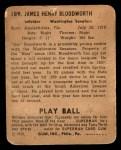 1940 Play Ball #189  Jimmy Bloodworth  Back Thumbnail