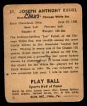 1941 Play Ball #31  Joe Kuhel  Back Thumbnail