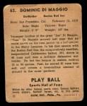 1941 Play Ball #63  Dom DiMaggio  Back Thumbnail