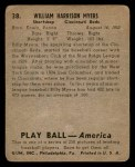 1939 Play Ball #38  Bill Myers  Back Thumbnail