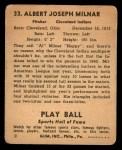 1941 Play Ball #33  Al Milnar  Back Thumbnail