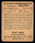 1941 Play Ball #62  Elbie Fletcher  Back Thumbnail