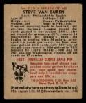 1948 Bowman #7  Steve Van Buren  Back Thumbnail