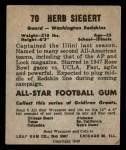 1949 Leaf #70  Herb Siegert  Back Thumbnail