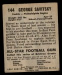 1949 Leaf #144  George Savitsky  Back Thumbnail