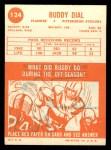 1963 Topps #124  Buddy Dial  Back Thumbnail