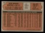 1972 Topps #773  Ron Brand  Back Thumbnail