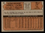 1972 Topps #45 *ERR* Glenn Beckert  Back Thumbnail