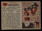 1957 Topps #49  Chuck Bednarik  Back Thumbnail