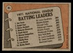1972 Topps #85   -  Glenn Beckert / Ralph Garr / Joe Torre NL Batting Leaders   Back Thumbnail