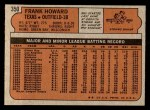 1972 Topps #350  Frank Howard  Back Thumbnail