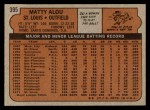 1972 Topps #395  Matty Alou  Back Thumbnail