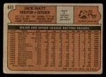 1972 Topps #633  Jack Hiatt  Back Thumbnail