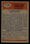 1955 Bowman #74  Tobin Rote  Back Thumbnail